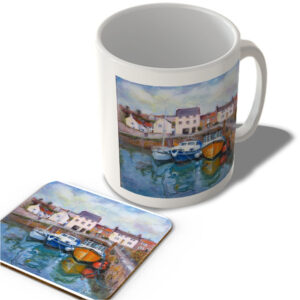 'Boats in Crail Harbour' – Painting by Scottish Artist Jane Bannister – Mug and Coaster Set