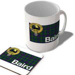 Baird – Scottish Clan Tartan – Scottish Mug and Coaster Set