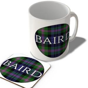 Baird – Baird Modern Tartan – (Circle Background) – Scottish Mug and Coaster Set