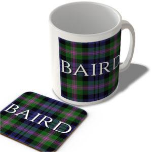 Baird – Baird Modern Tartan – (Full Background) – Scottish Mug and Coaster Set