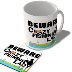Crazy Fishing Lady – Mug and Coaster Set