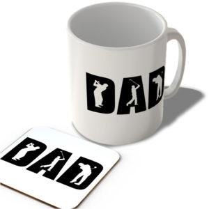 Dad – Golfer – White Background – Mug and Coaster Set