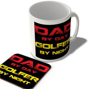 Dad By Day Golfer By Night – Mug and Coaster Set