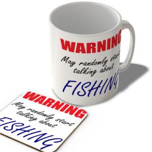 Warning – May Randomly Start Talking About Fishing – Mug and Coaster Set