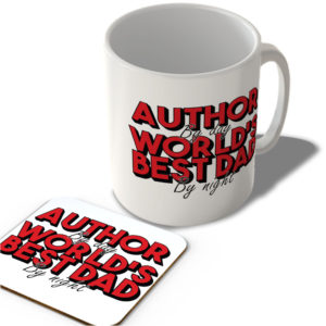 Author By Day World's Best Dad By Night (White Background) – Mug and Coaster Set