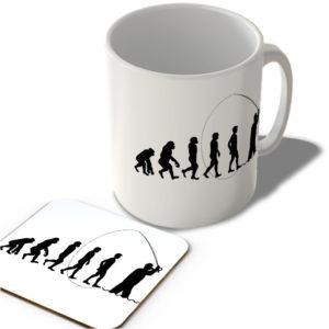 Evolution Of Man – Fishing – Mug and Coaster Set