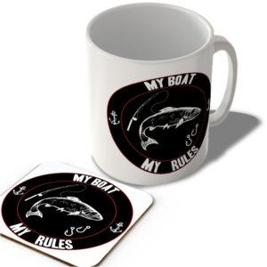 My Boat My Rules – Fishing (Black Background)  – Mug and Coaster Set