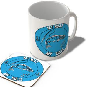 My Boat My Rules – Fishing (Blue Background)  – Mug and Coaster Set