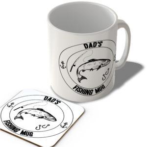Dad's Fishing Mug (White Background)  – Mug and Coaster Set