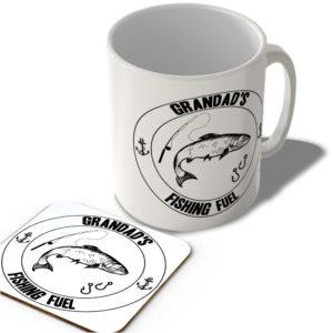 Grandad's Fishing Fuel (White Background)  – Mug and Coaster Set