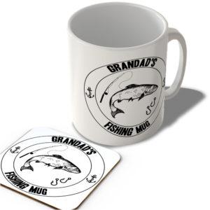 Grandad's Fishing Mug (White Background)  – Mug and Coaster Set