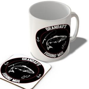 Grandad's Fishing Mug (Black Background)  – Mug and Coaster Set