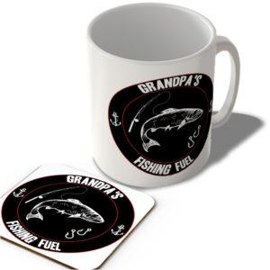Grandpa's Fishing Fuel (Black Background)  – Mug and Coaster Set