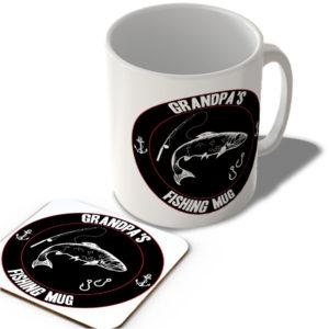 Grandpa's Fishing Mug (Black Background)  – Mug and Coaster Set
