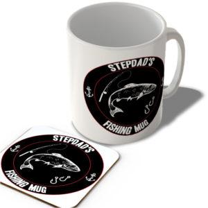 Stepdad's Fishing Mug (Black Background)  – Mug and Coaster Set