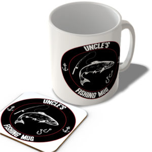 Uncle's Fishing Mug (Black Background)  – Mug and Coaster Set