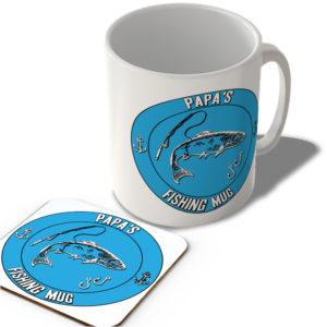 Papa's Fishing Mug (Blue Background)  – Mug and Coaster Set