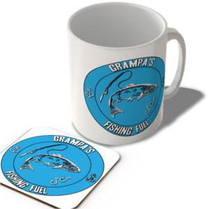 Grampa's Fishing Fuel (Blue Background)  – Mug and Coaster Set