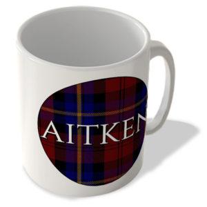 Aitken – Aitken Tartan – (Circle Background) – Scottish Mug