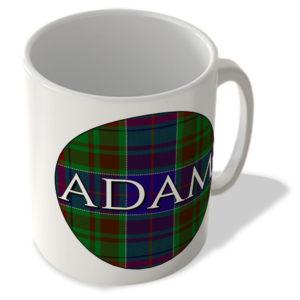 Adam – Adam Tartan – (Circle Background) – Scottish Mug