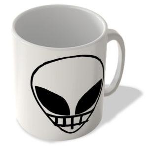 Alien Face – Cheesy Smile – White – Mug