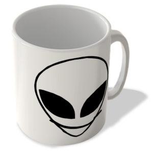 Alien Face – Happy Face, Smile – White – Mug