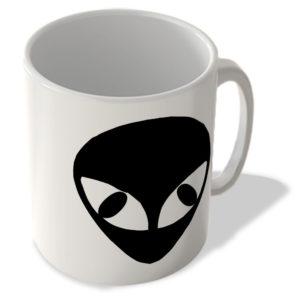 Alien Face – Cat Eyes – Black – Mug