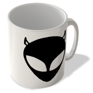 Alien Face – Devil Horns – Black – Mug