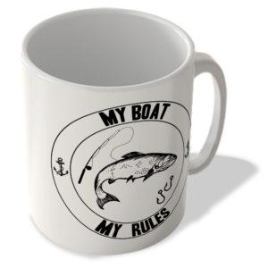 My Boat My Rules – Fishing (White Background) – Mug
