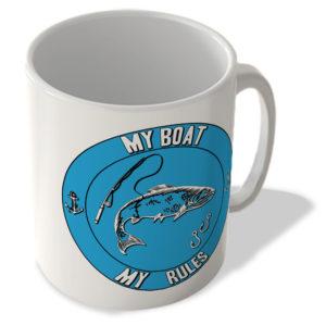 My Boat My Rules – Fishing (Blue Background) – Mug
