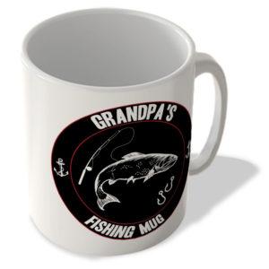 Grandpa's Fishing Mug (Black Background) – Mug
