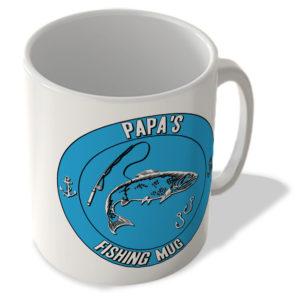 Papa's Fishing Mug (Blue Background) – Mug