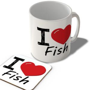 I Love Fish – Mug and Coaster Set