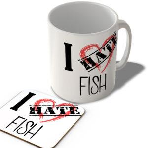 I Hate Fish – Mug and Coaster Set