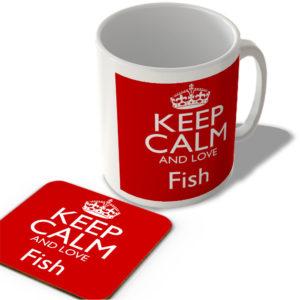 Keep Calm And Love Fish – Mug and Coaster Set