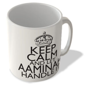 Keep Calm and Let Aaminah Handle It – White Background – Mug