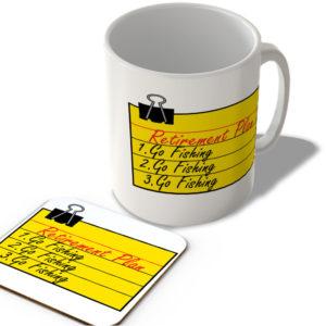 Retirement Plan Go Fishing – Mug and Coaster Set