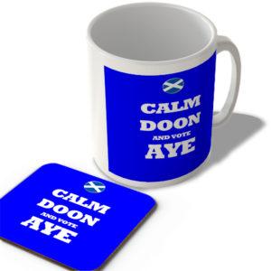 Calm Doon And Vote Aye – Scottish Politics Mug and Coaster Set