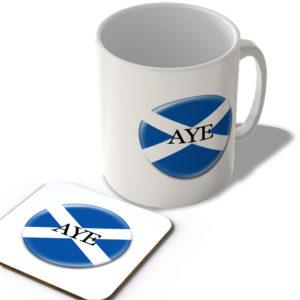Aye Flag – Scottish Politics Mug and Coaster Set
