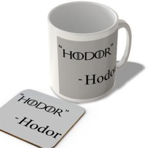 """""""Hodor"""" – Hodor – Mug and Coaster Set"""