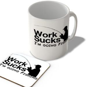 Work Sucks, I'm Going Fishing – Mug and Coaster Set