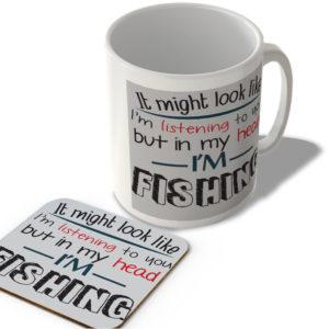In My Head I'm Fishing – Mug and Coaster Set