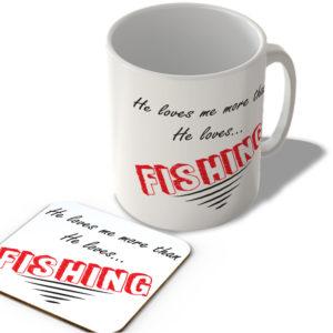 He Loves Me More Than He Loves…Fishing – Mug and Coaster Set