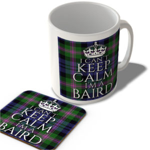I Can't Keep Calm I'm a Baird – Baird Modern Tartan – (Crown) – Scottish Mug and Coaster Set