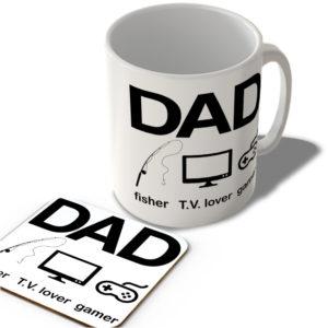 Dad – Fisher – T.V. Lover – Gamer – Mug and Coaster Set