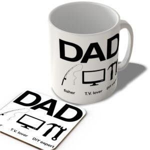 Dad – Fisher – T.V. Lover – Diy Expert – Mug and Coaster Set
