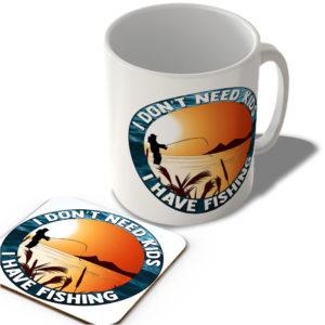 I Don't Need Kids – I Have Fishing – Mug and Coaster Set