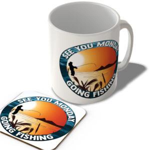 See You Monday – Going Fishing – Mug and Coaster Set