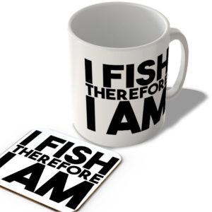 I Fish Therefore I Am – Mug and Coaster Set