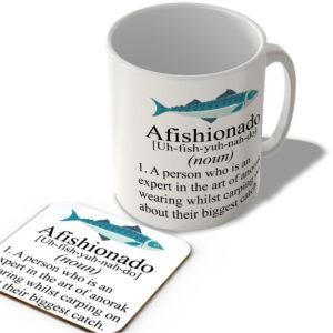 Afishionado Definition – Fishing Mug and Coaster Set